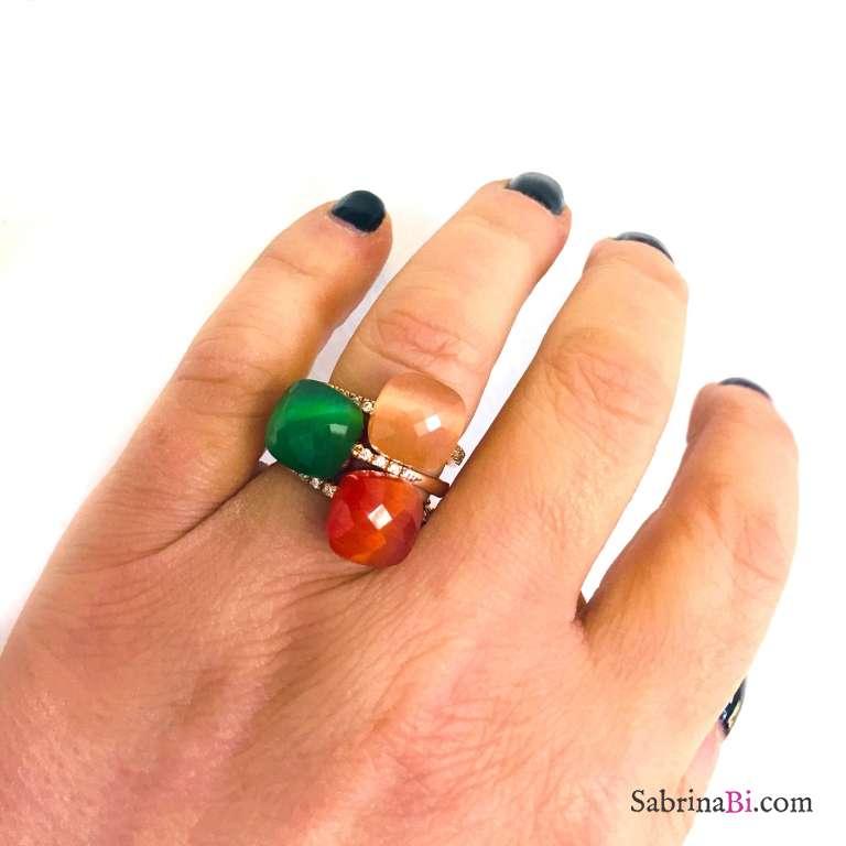 Anello regolabile argento 925 oro rosa Opale verde Smeraldo
