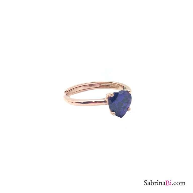 Anello regolabile argento 925 oro rosa Zircone cuore viola