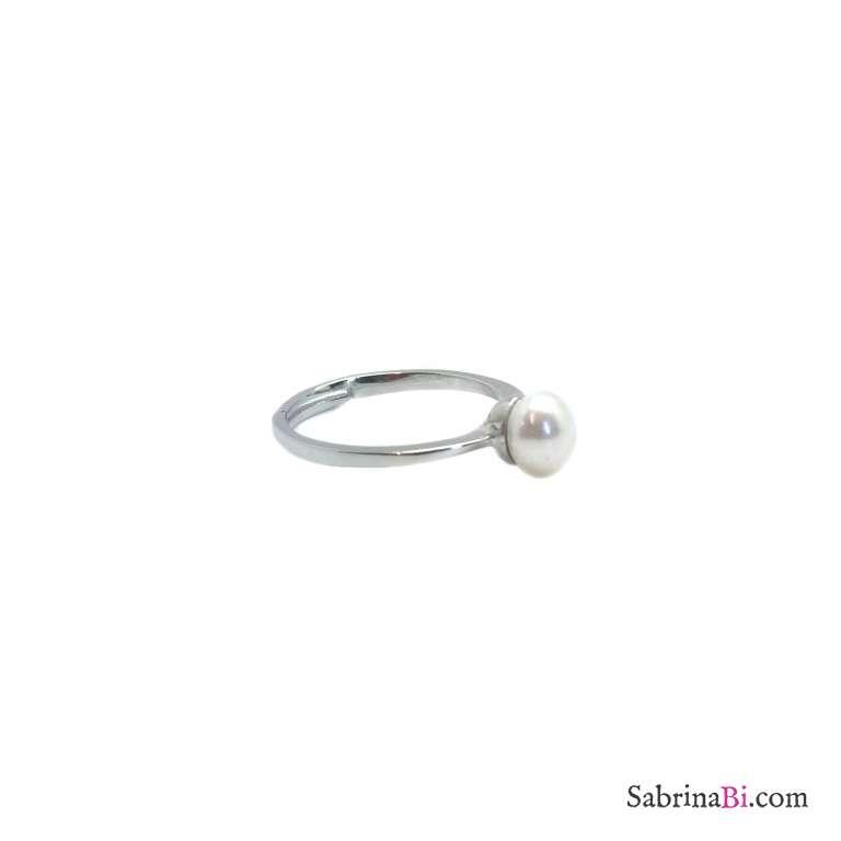 Anello regolabile argento 925 perla bianca