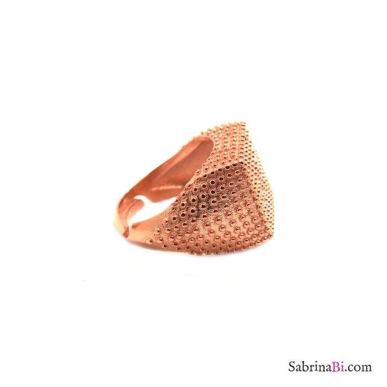 Anello regolabile Chevalier argento 925 oro rosa borchiato quadrato