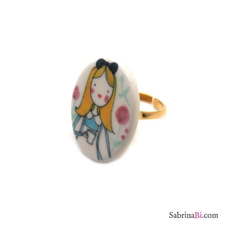 Porcelain Alice in Wonderland adjustable ring