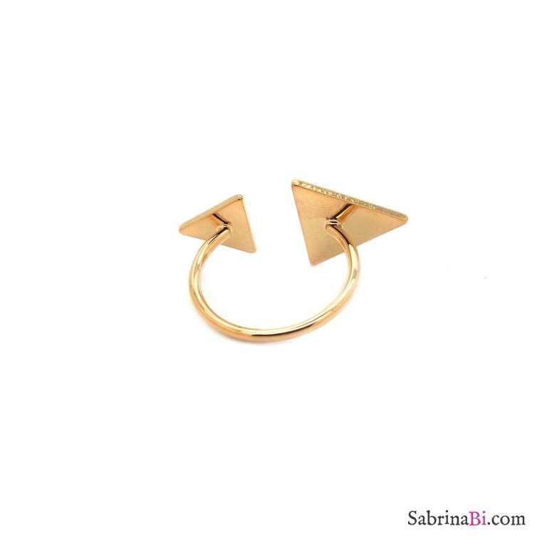 Anello regolabile oro contrariè triangoli
