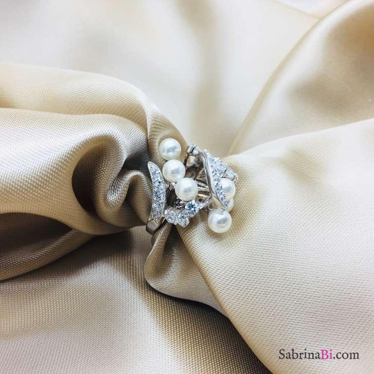 Anello scultura argento 925 perle e Zirconi