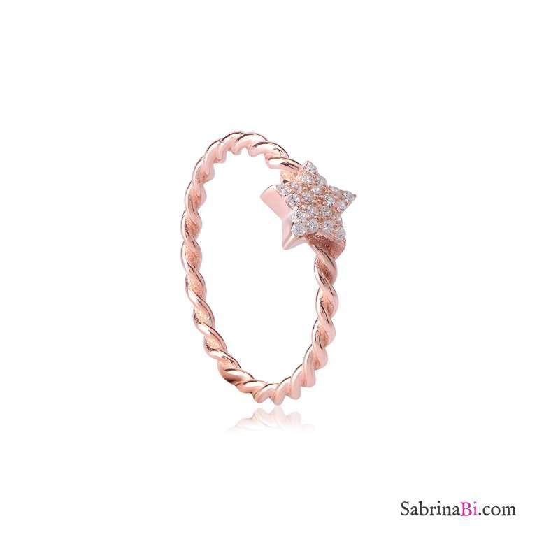 Anello torchon argento 925 oro rosa stella brillanti