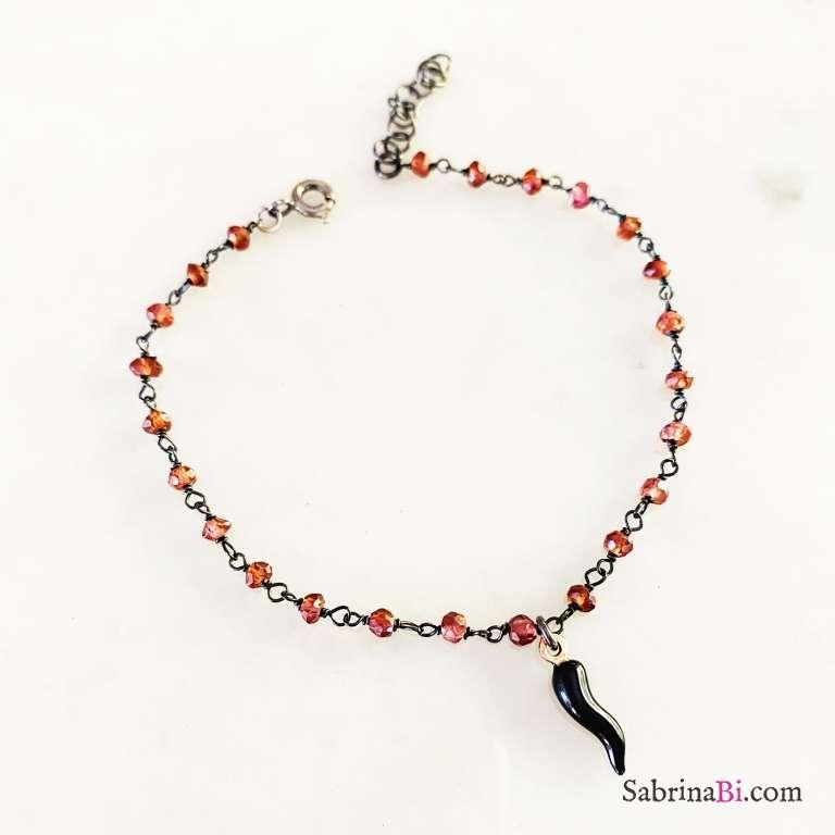 Bracciale argento 925 brunito catena rosario Granato Cornetto