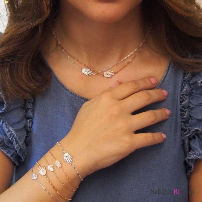 Bracciale argento 925 mini Mano di Fatima Zirconi