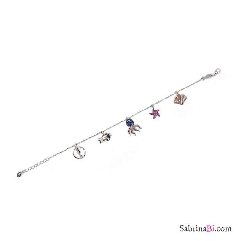 Bracciale argento 925 multi charms Polipo brillanti