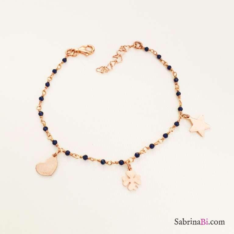 Bracciale argento 925 oro rosa Catherine