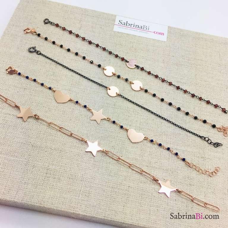 Bracciale argento 925 oro rosa con micro rosario blu cuori e stella