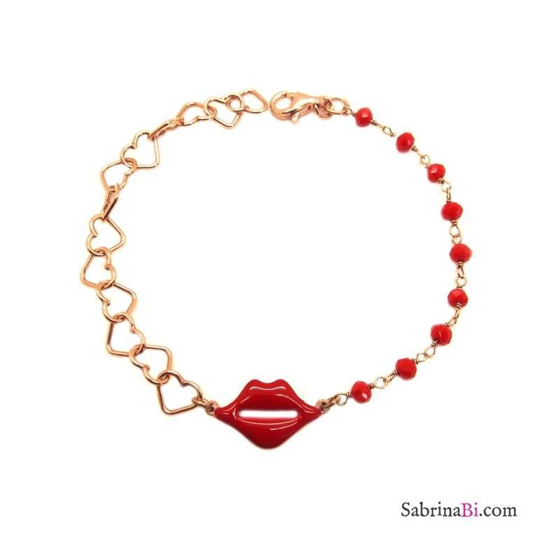Bracciale argento 925 oro rosa con rosario rosso e Kiss