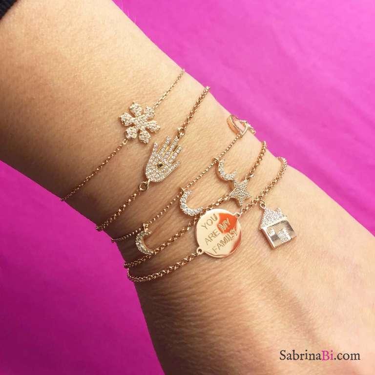 Bracciale argento 925 oro rosa Fiocco di neve Zirconi