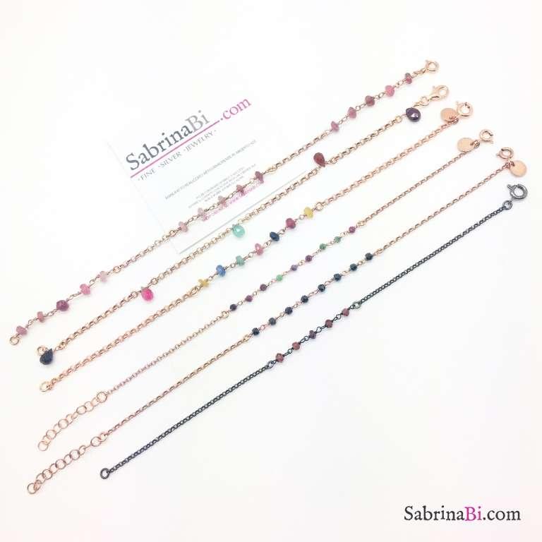 Bracciale argento 925 oro rosa inserti pietre dure rosa