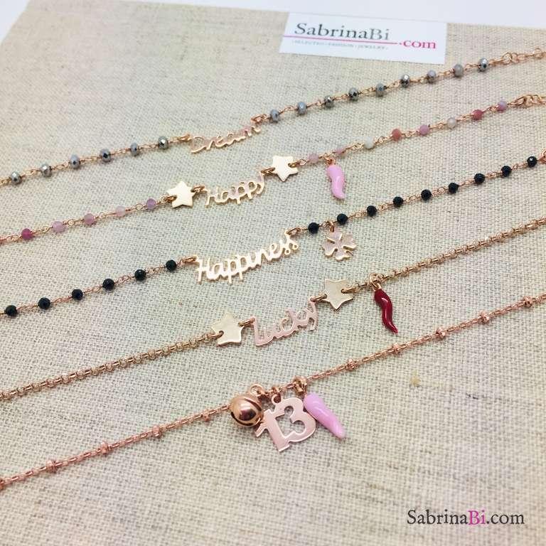Bracciale argento 925 oro rosa Lucky e cornetto rosso