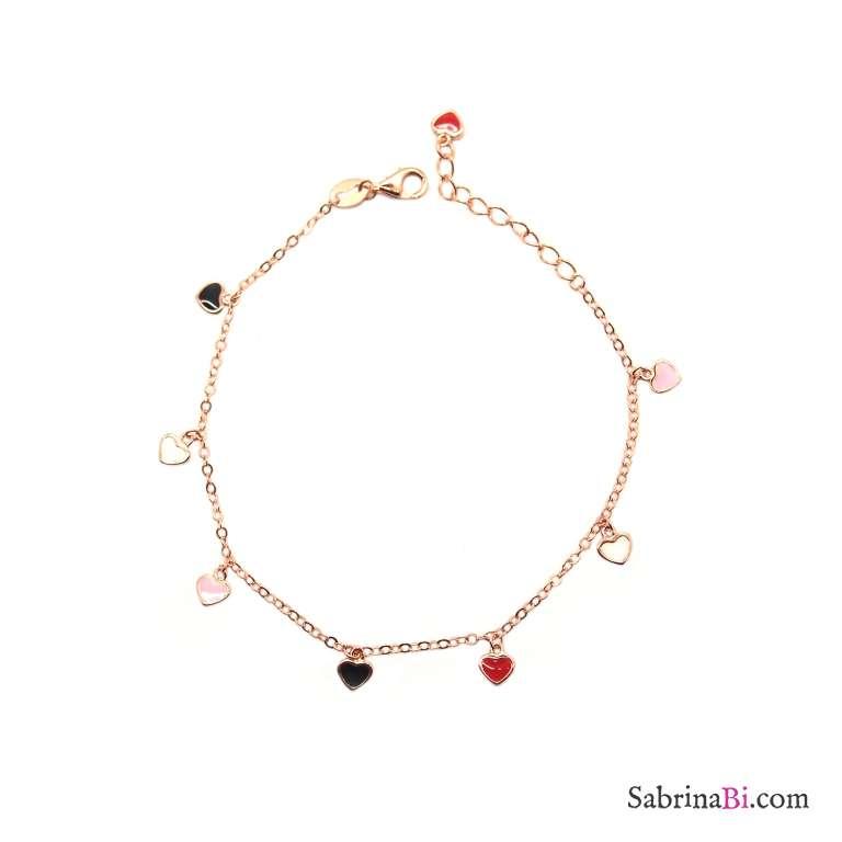 Bracciale argento 925 oro rosa micro cuori colorati