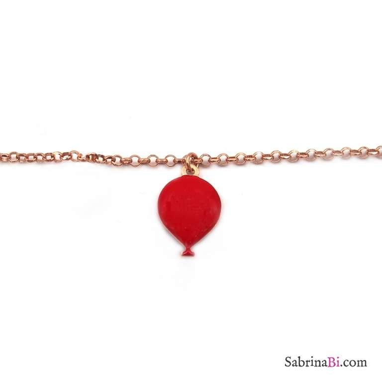 Bracciale argento 925 oro rosa palloncino smalto rosso