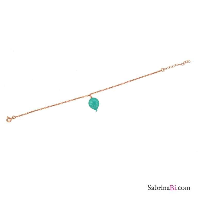 Bracciale argento 925 oro rosa palloncino smalto verde Tiffany