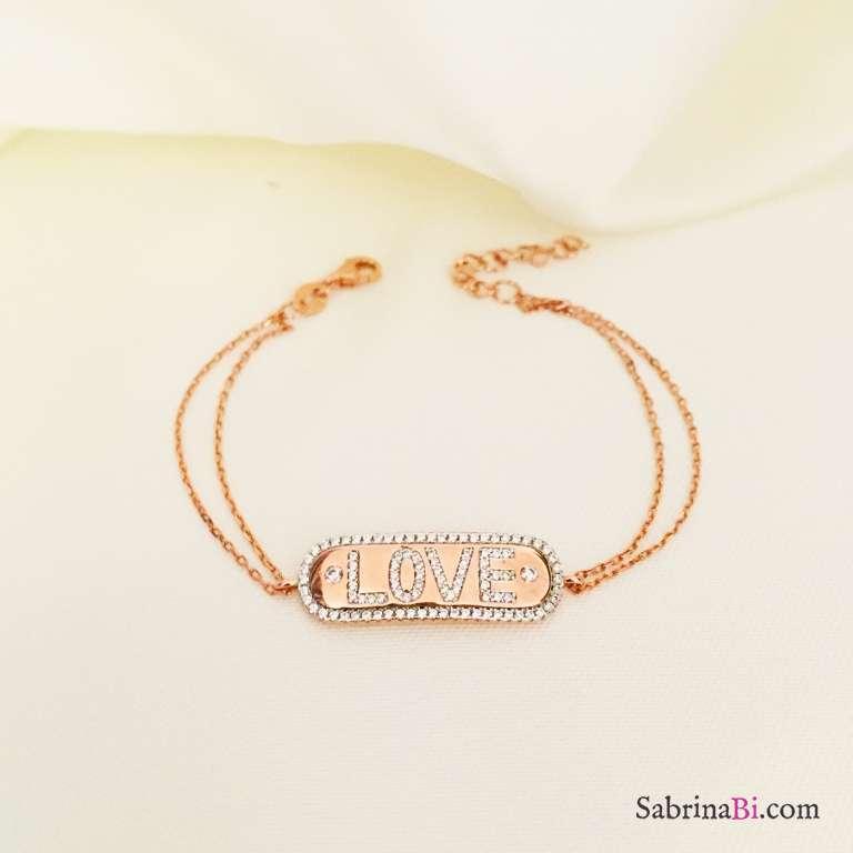 Bracciale argento 925 oro rosa piastrina LOVE