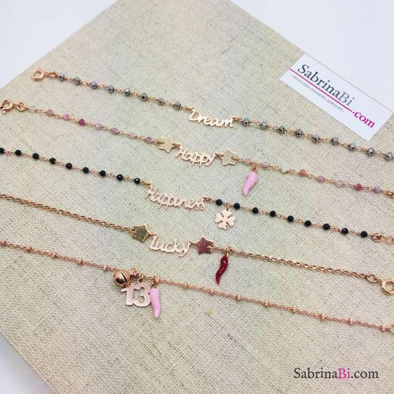 Bracciale argento 925 oro rosa rosario Ematite grigia Dream