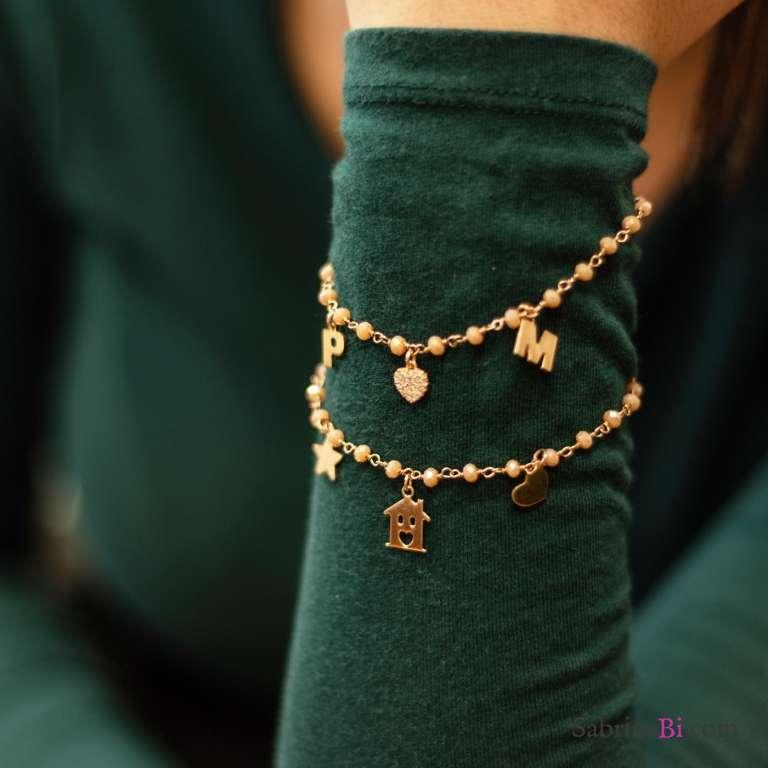 Bracciale argento 925 oro rosa rosario Opale rosa Cuore e 2 lettere iniziale nome