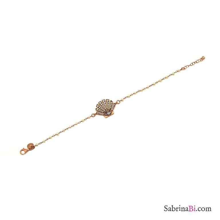 Bracciale argento 925 oro rosa rosario perle e conchiglia Zirconi