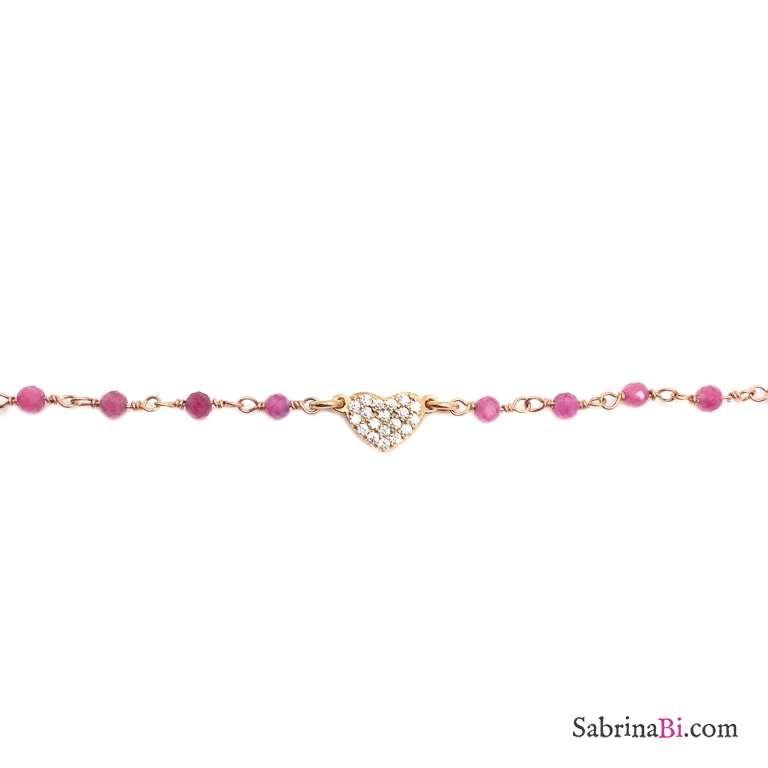 Bracciale argento 925 oro rosa rosario Quarzo rosa e cuore Zirconi