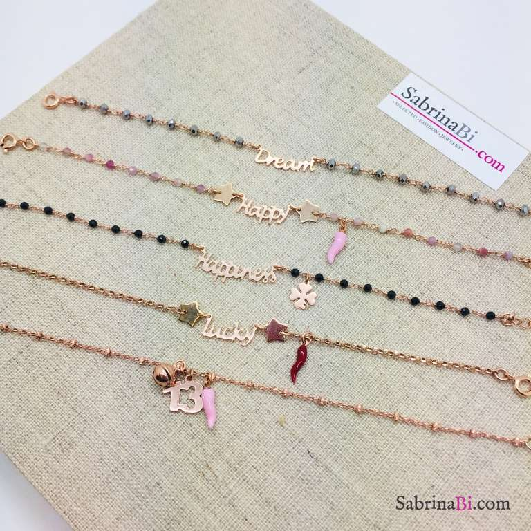 Bracciale argento 925 oro rosa rosario Quarzo rosa Happy