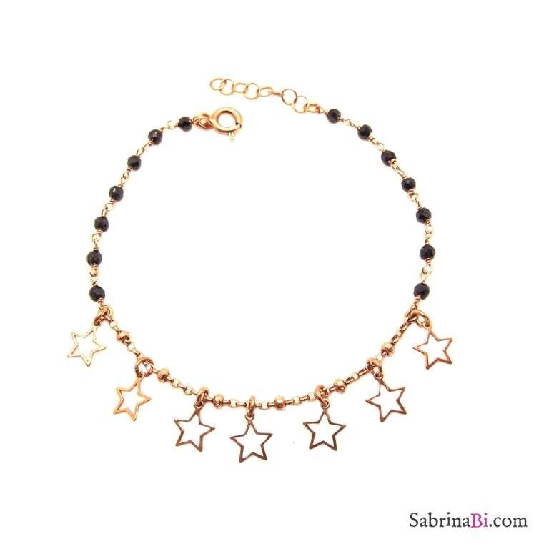 Bracciale argento 925 oro rosa rosario Spinelli neri e oro rosa con stelline