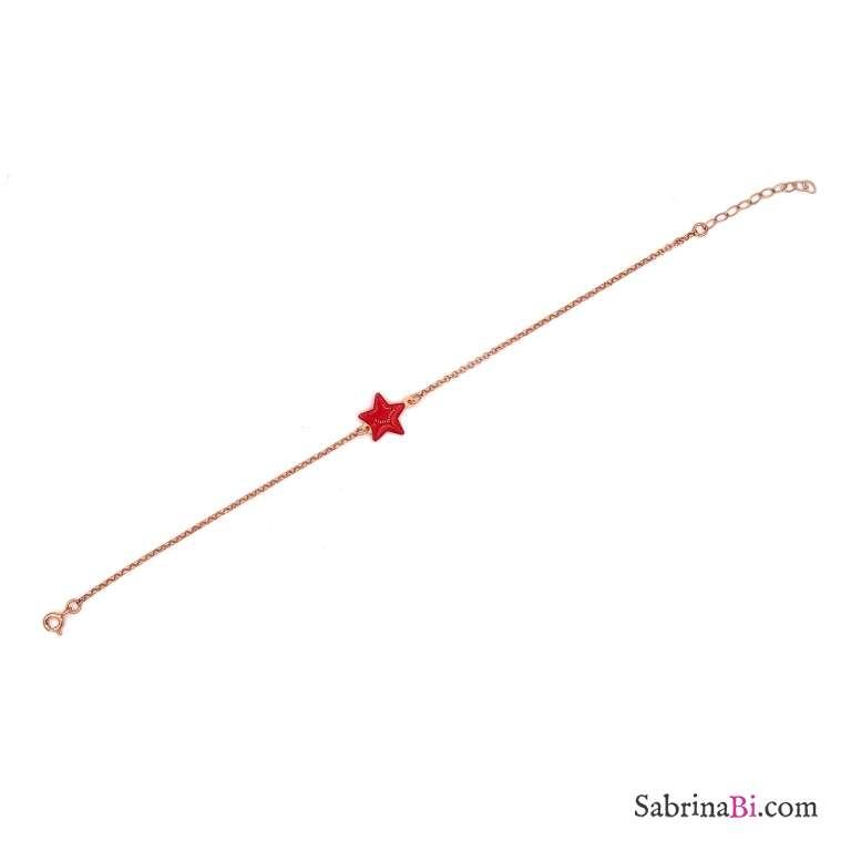 Bracciale argento 925 oro rosa stella smalto rossa