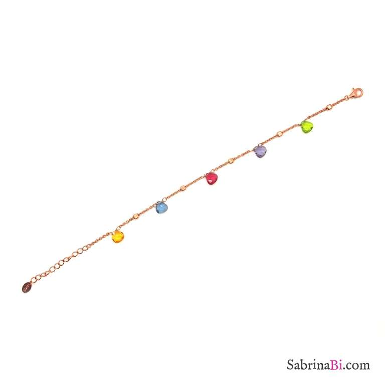 Bracciale argento 925 oro rosa Zirconi goccia colorati