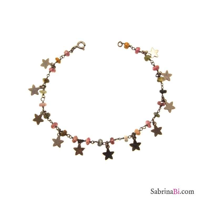 Bracciale argento 925 rodiato nero rosario pietre multicolor e stelle