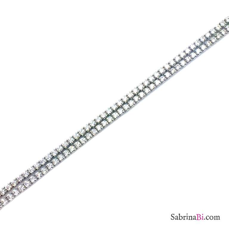 Bracciale argento 925 tennis doppio Zirconi