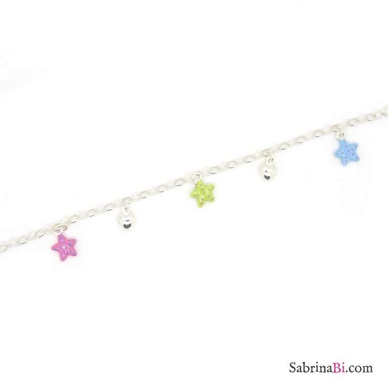 Bracciale bambina argento 925 ciondoli stelle smaltate