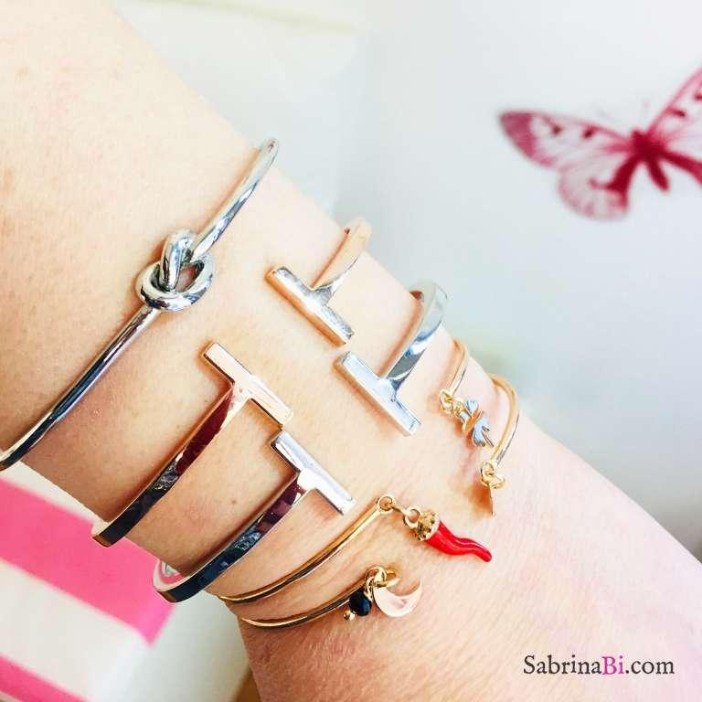 Bracciale bangle aperto argento 925 oro rosa Cornetto e Quadrifoglio