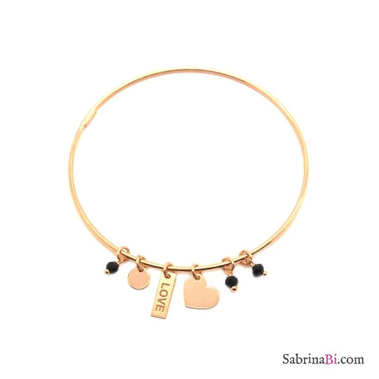 Bracciale bangle argento 925 oro rosa Cuore + Love