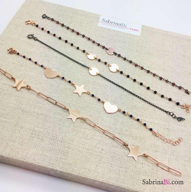 Bracciale catena graffetta argento 925 oro rosa 3 Stelle