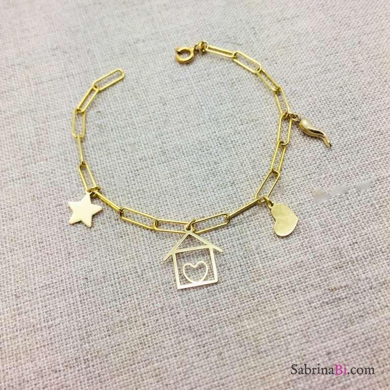 Bracciale catena graffetta piccola argento 925 oro giallo e casetta