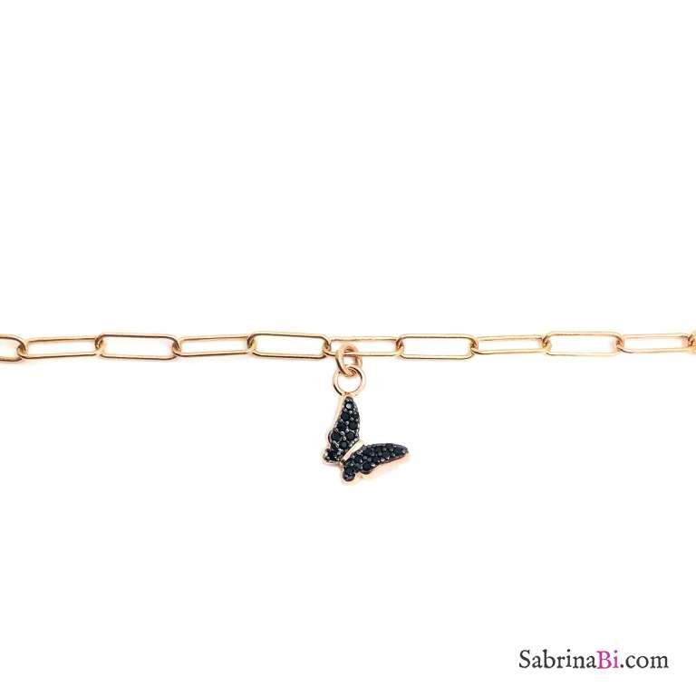 Bracciale catena graffetta piccola argento 925 oro rosa e farfalla Zirconi neri