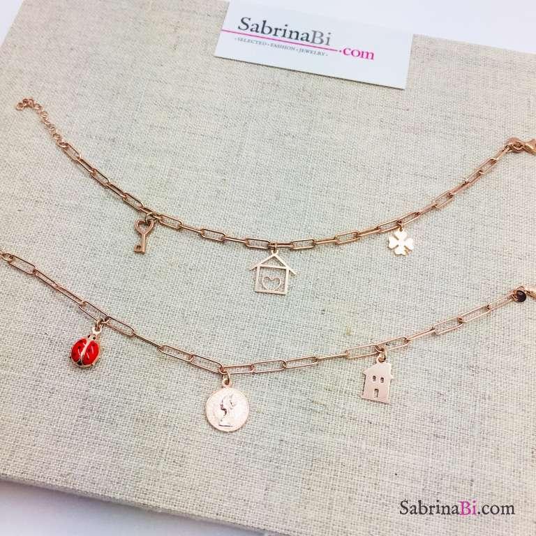 Bracciale catena graffetta piccola argento 925 oro rosa e moneta