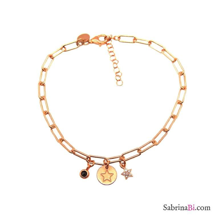 Bracciale catenella graffetta piccola argento 925 oro rosa e charms