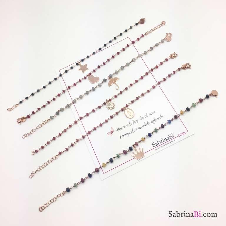 Bracciale Corona argento 925 oro rosa rosario pietre multicolor