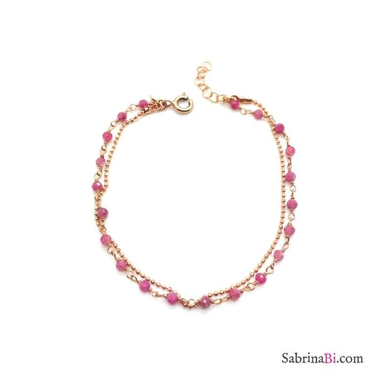 Bracciale doppio filo rosario argento 925 oro rosa Quarzo rosa