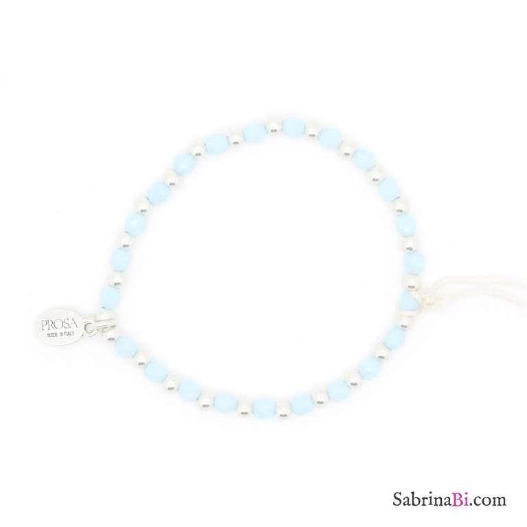 Bracciale elasticizzato perline argento e azzurre