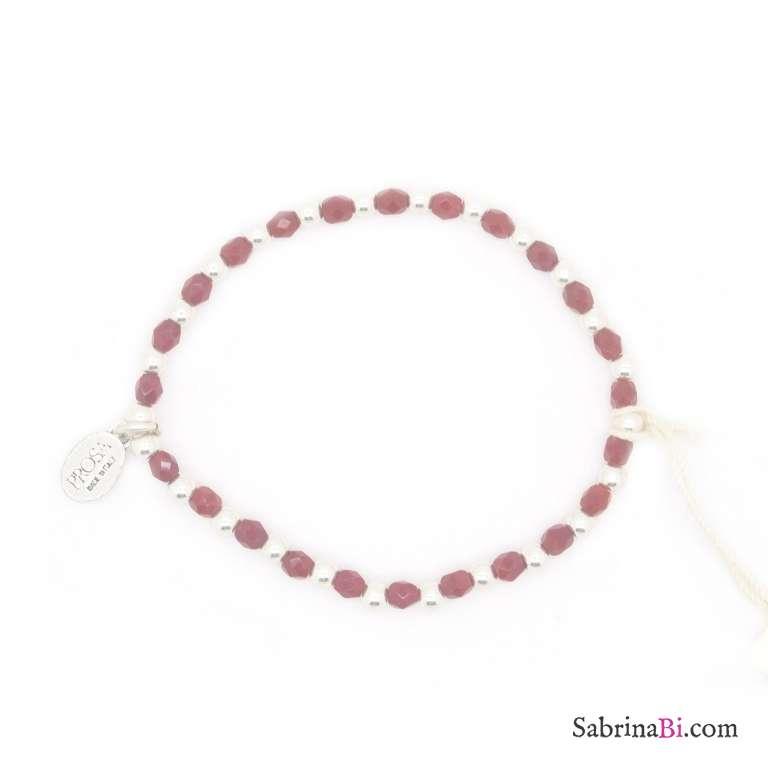 Bracciale elasticizzato perline argento e rosse