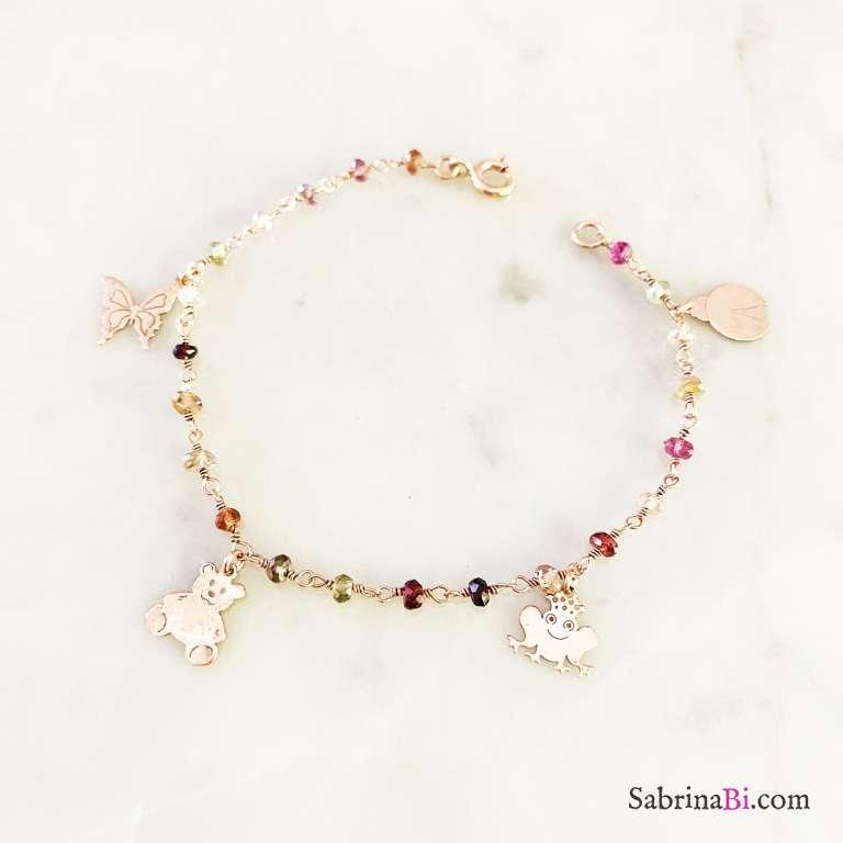Bracciale Favola rosario argento 925 oro rosa pietre dure multicolor