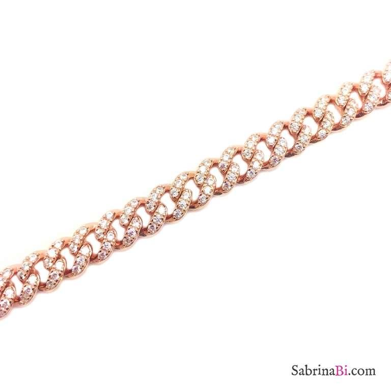 Bracciale maglia groumette argento 925 oro rosa Zirconi