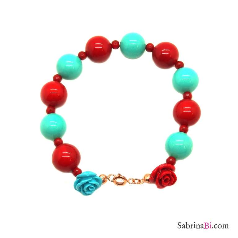 Red coral and turquoise maxi beads bracelet