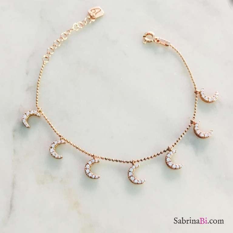 Bracciale Moon argento 925 oro rosa ciondoli Luna Zirconi