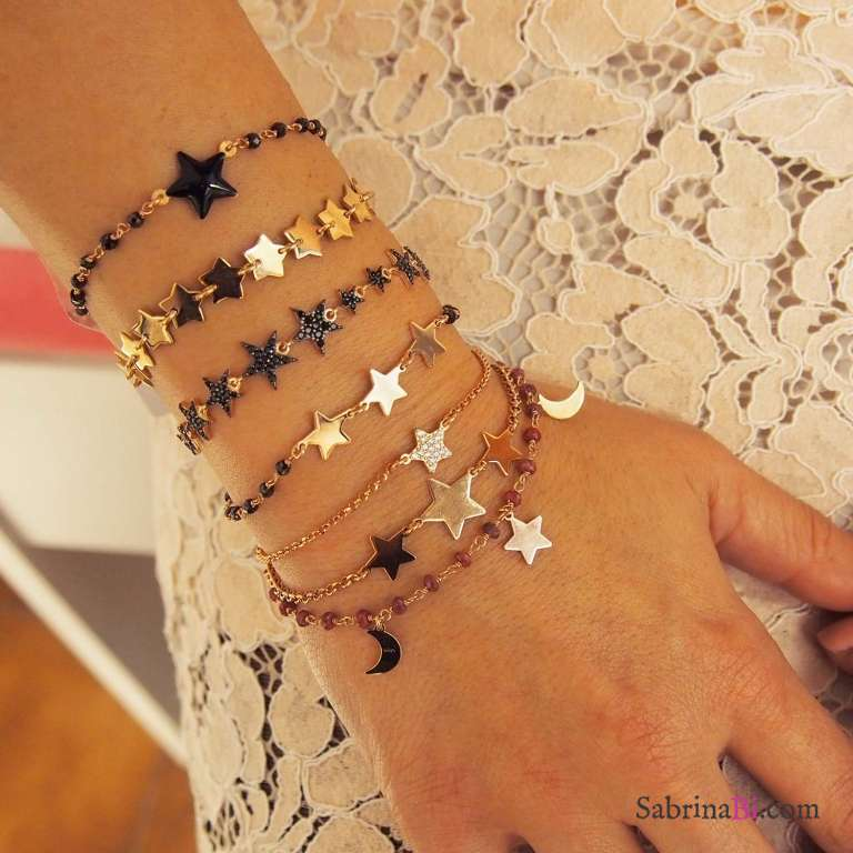 Bracciale MultiStar argento 925 oro rosa Stelle Zirconi neri