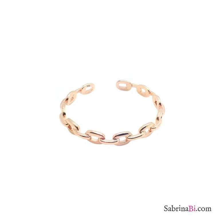 Bracciale rigido bangle argento 925 oro rosa catena