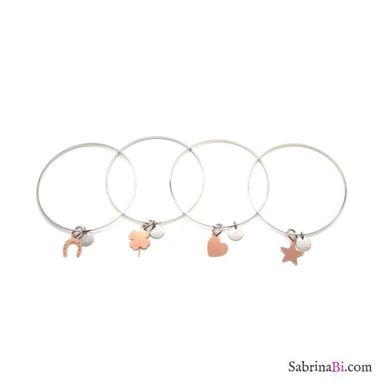 Bracciale rigido bangle argento con stella oro rosa